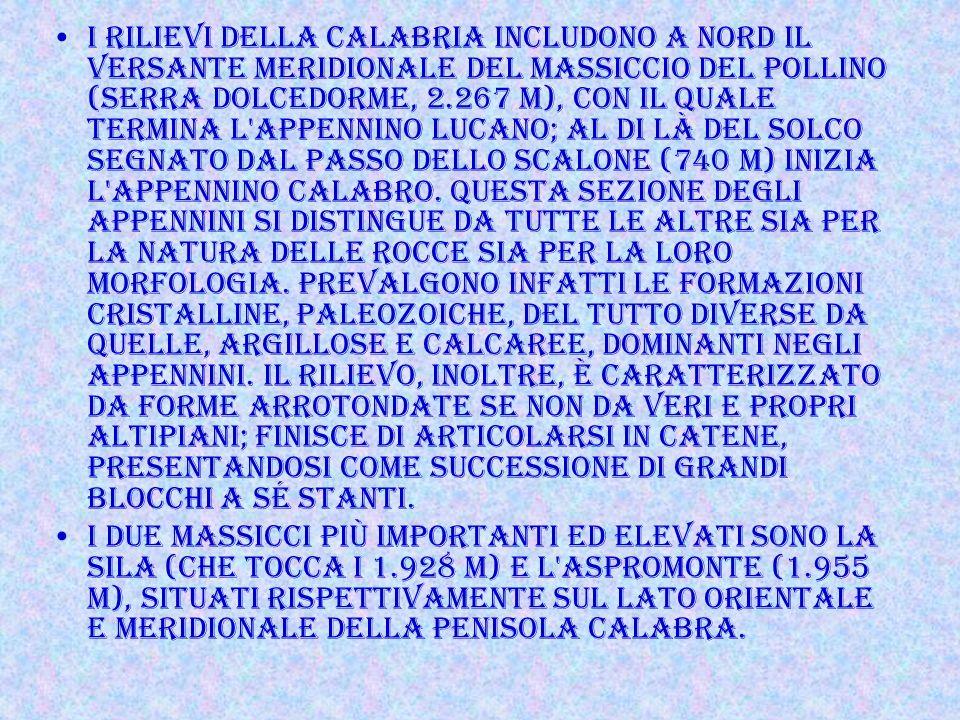 TERRITORIO Sicuramente le caratteristiche fisiche della Calabria non sono particolarmente propizie, Più del 91% del territorio è formato da montagne e
