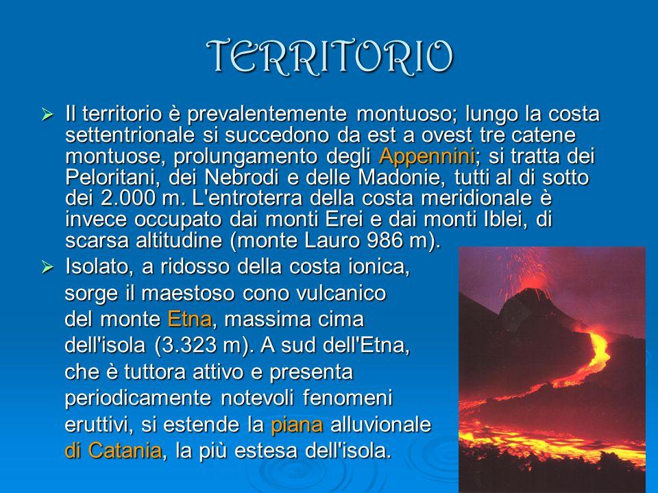 TERRITORIO Il territorio è prevalentemente montuoso; lungo la costa settentrionale si succedono da est a ovest tre catene montuose, prolungamento degli Appennini; si tratta dei Peloritani, dei Nebrodi e delle Madonie, tutti al di sotto dei 2.000 m.
