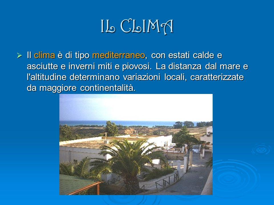 IL CLIMA Il clima è di tipo mediterraneo, con estati calde e asciutte e inverni miti e piovosi. La distanza dal mare e l'altitudine determinano variaz