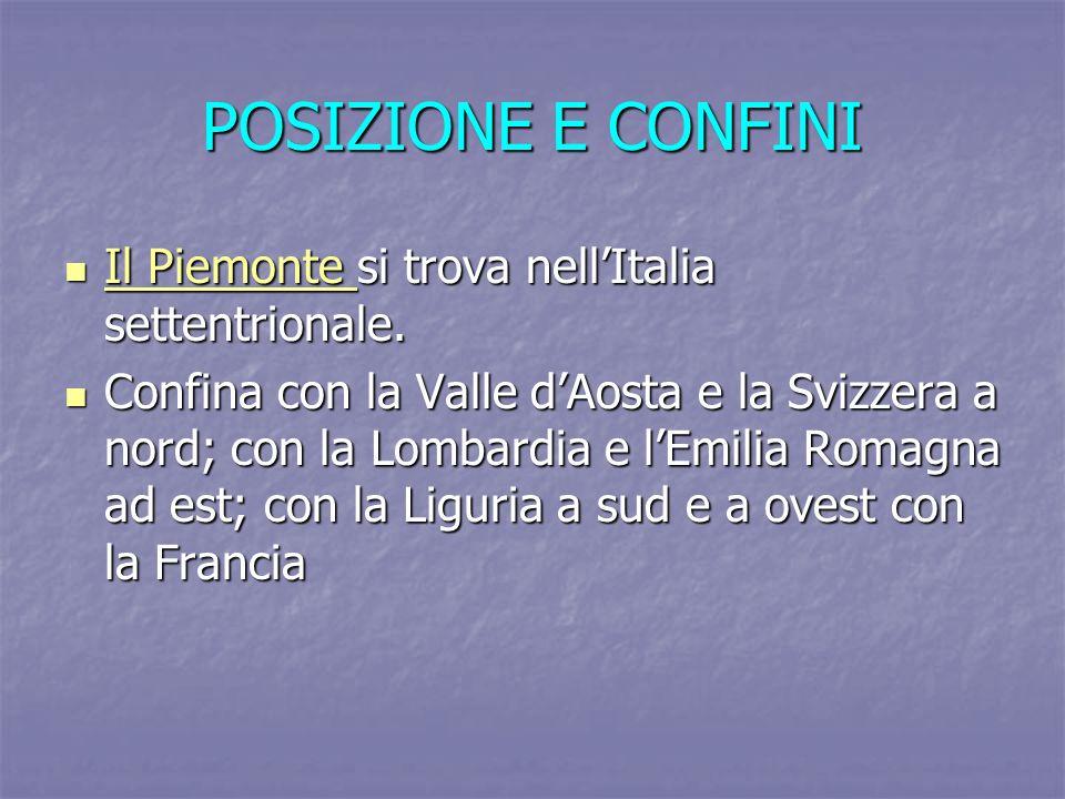 POSIZIONE E CONFINI Il Piemonte si trova nellItalia settentrionale. Il Piemonte si trova nellItalia settentrionale. Il Piemonte Il Piemonte Confina co