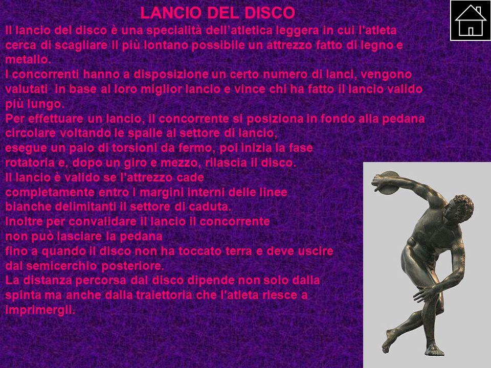 LANCIO DEL DISCO Il lancio del disco è una specialità dellatletica leggera in cui l'atleta cerca di scagliare il più lontano possibile un attrezzo fat