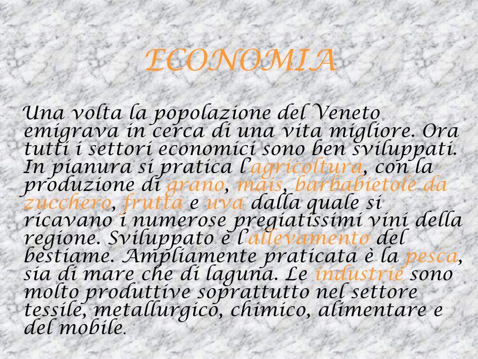 ECONOMIA Una volta la popolazione del Veneto emigrava in cerca di una vita migliore. Ora tutti i settori economici sono ben sviluppati. In pianura si