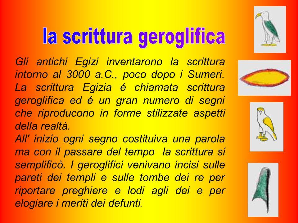 Gli antichi Egizi inventarono la scrittura intorno al 3000 a.C., poco dopo i Sumeri. La scrittura Egizia é chiamata scrittura geroglifica ed é un gran
