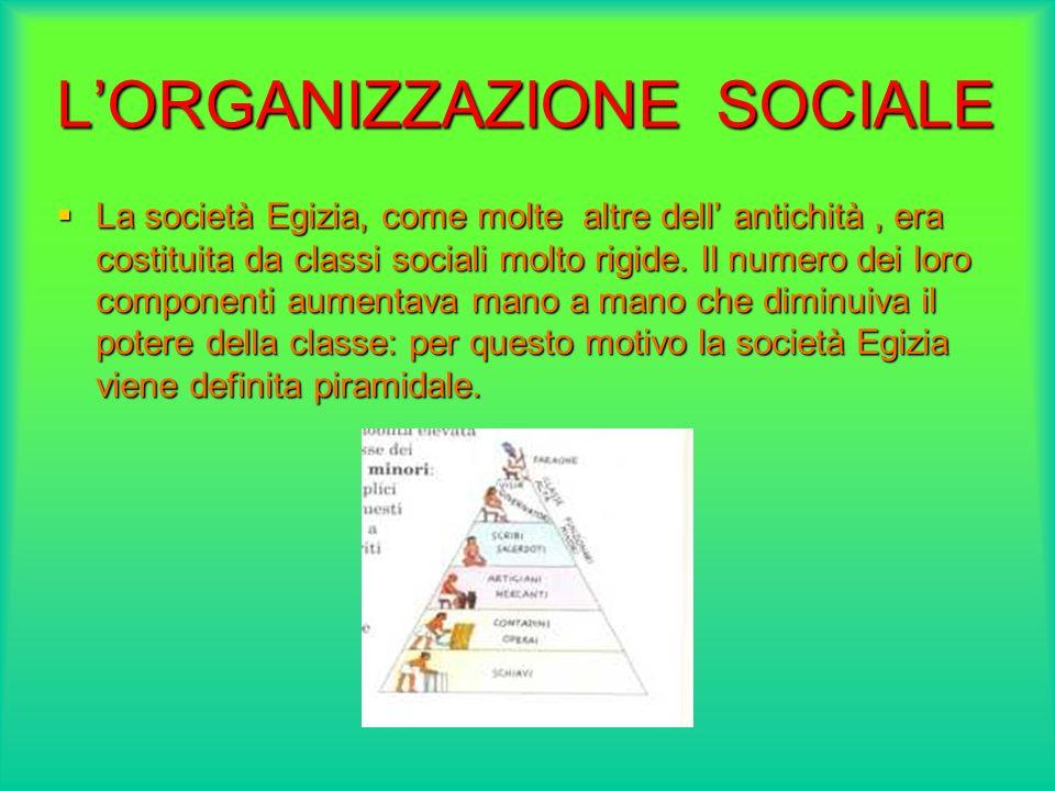 LORGANIZZAZIONE SOCIALE La società Egizia, come molte altre dell antichità, era costituita da classi sociali molto rigide. Il numero dei loro componen