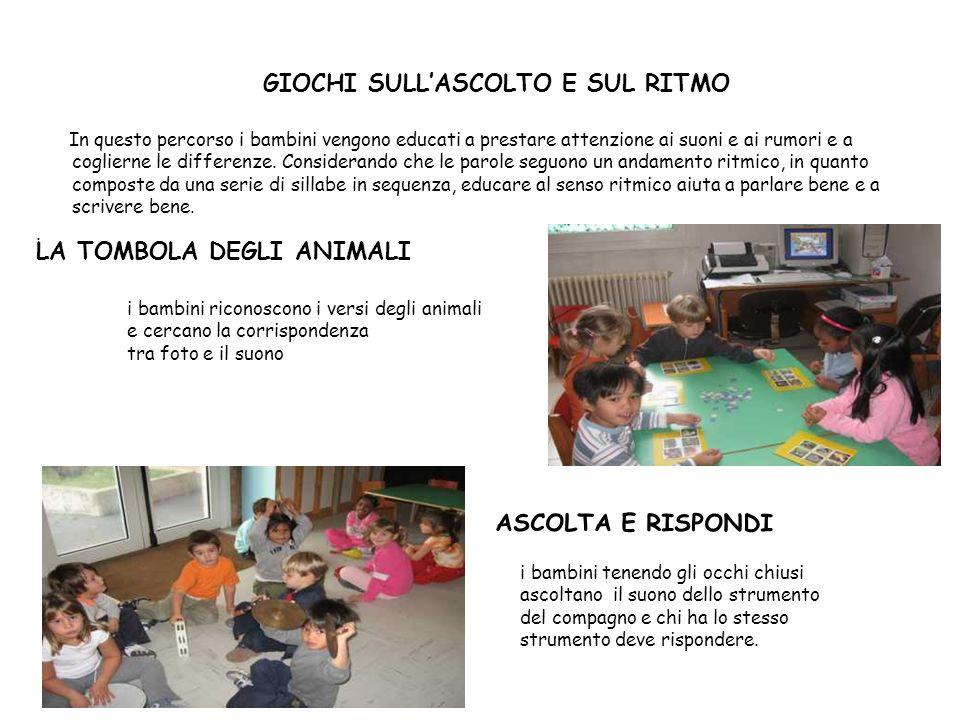 GIOCHI SULLASCOLTO E SUL RITMO In questo percorso i bambini vengono educati a prestare attenzione ai suoni e ai rumori e a coglierne le differenze. Co