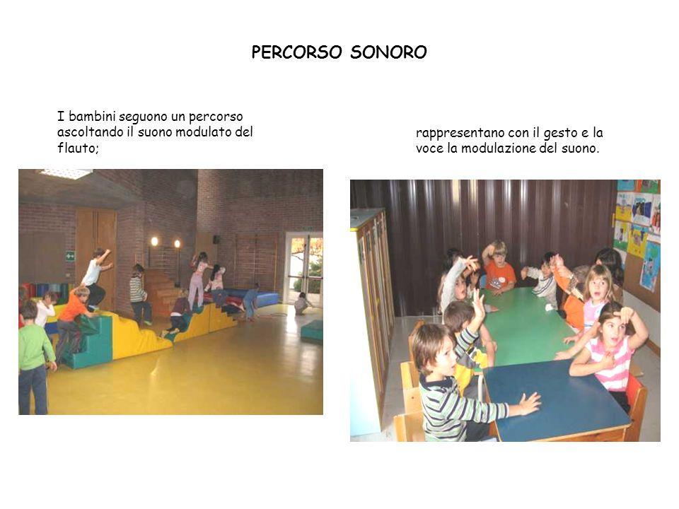 PERCORSO SONORO I bambini seguono un percorso ascoltando il suono modulato del flauto; rappresentano con il gesto e la voce la modulazione del suono.