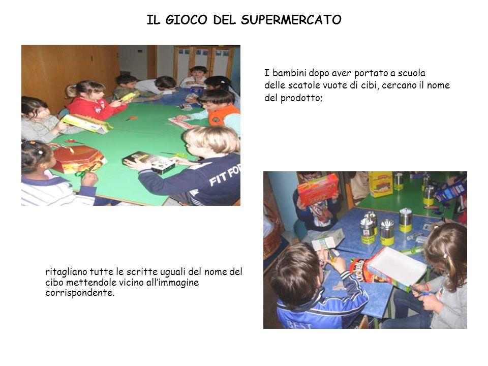 IL GIOCO DEL SUPERMERCATO I bambini dopo aver portato a scuola delle scatole vuote di cibi, cercano il nome del prodotto; ritagliano tutte le scritte