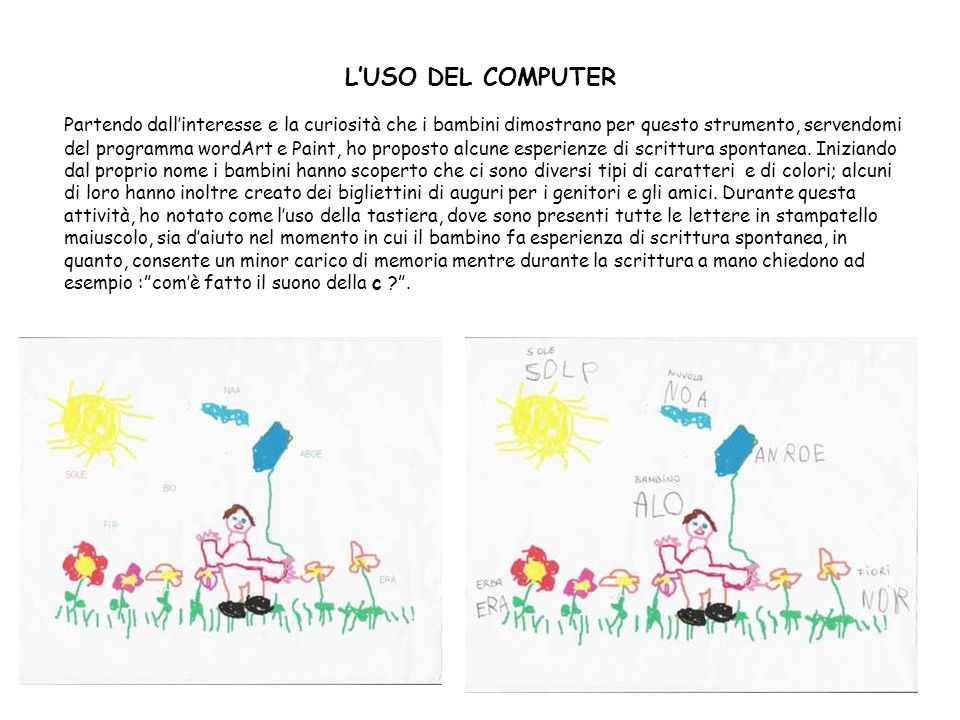 LUSO DEL COMPUTER Partendo dallinteresse e la curiosità che i bambini dimostrano per questo strumento, servendomi del programma wordArt e Paint, ho pr