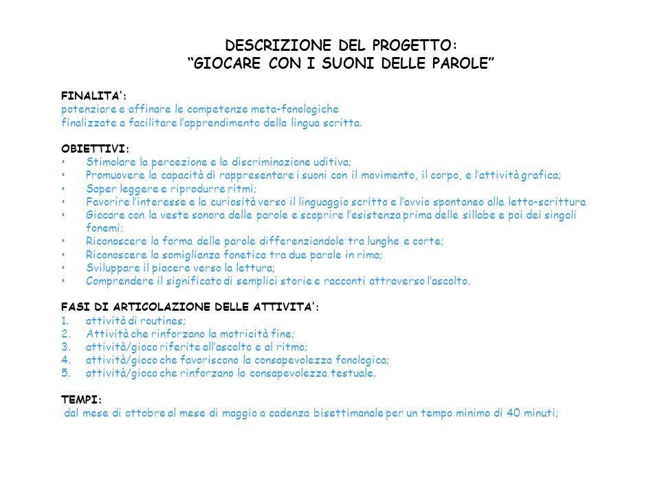 DESCRIZIONE DEL PROGETTO: GIOCARE CON I SUONI DELLE PAROLE FINALITA: potenziare e affinare le competenze meta-fonologiche finalizzate a facilitare lap