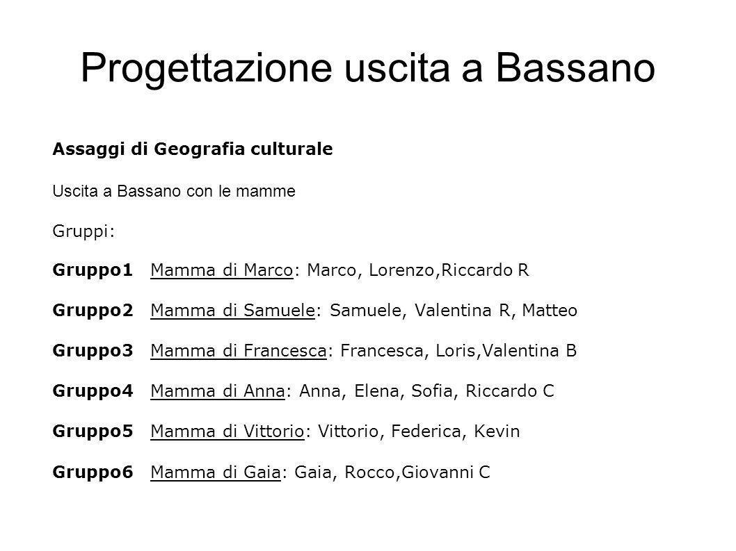 Progettazione uscita a Bassano Assaggi di Geografia culturale Uscita a Bassano con le mamme Gruppi: Gruppo1Mamma di Marco: Marco, Lorenzo,Riccardo R G