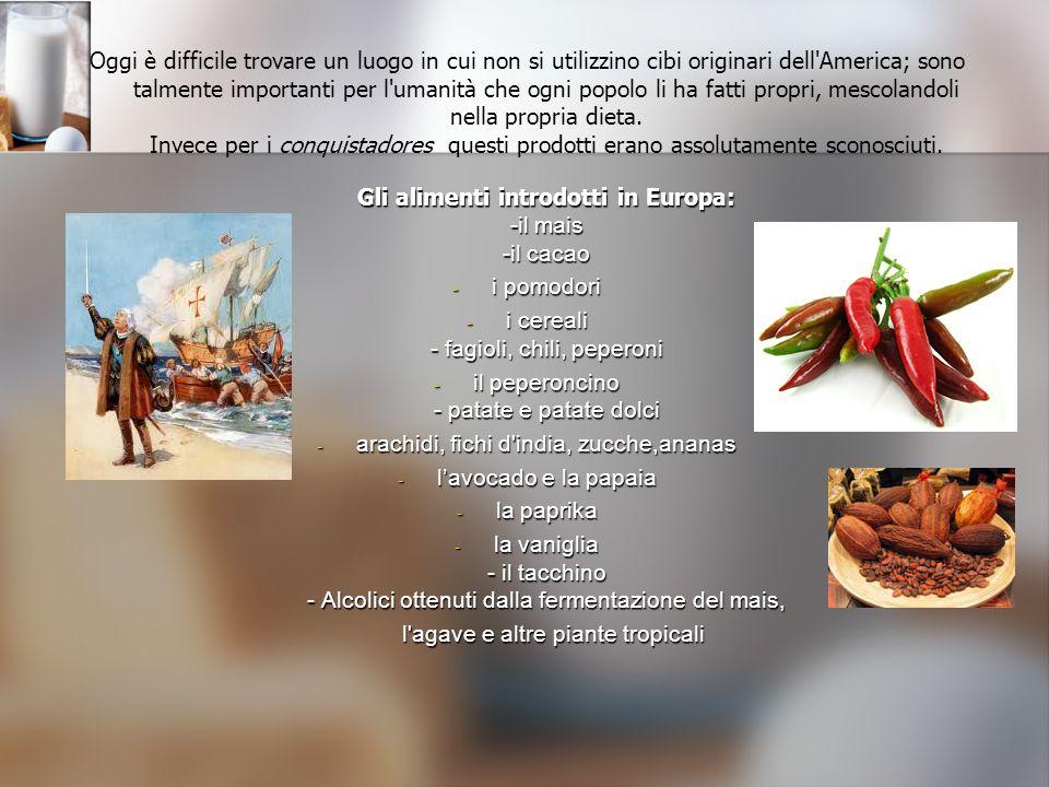 Gli alimenti introdotti in Europa: -il mais -il cacao Oggi è difficile trovare un luogo in cui non si utilizzino cibi originari dell'America; sono tal