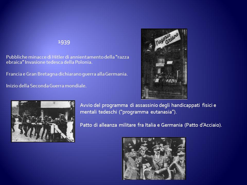 Pubbliche minacce di Hitler di annientamento della razza ebraica Invasione tedesca della Polonia. Francia e Gran Bretagna dichiarano guerra alla Germa