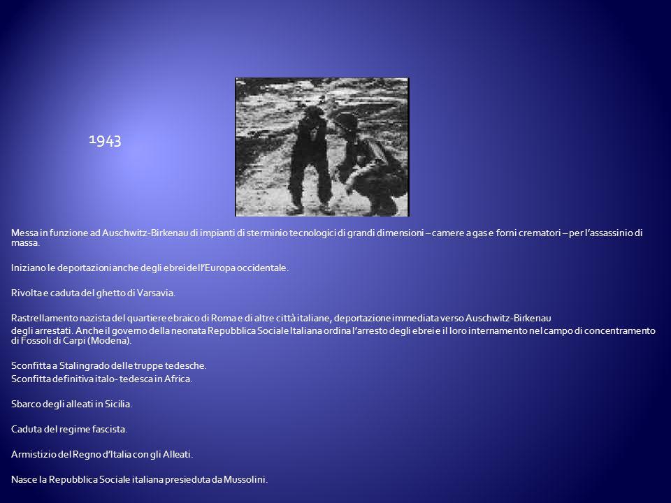 Messa in funzione ad Auschwitz-Birkenau di impianti di sterminio tecnologici di grandi dimensioni – camere a gas e forni crematori – per lassassinio d