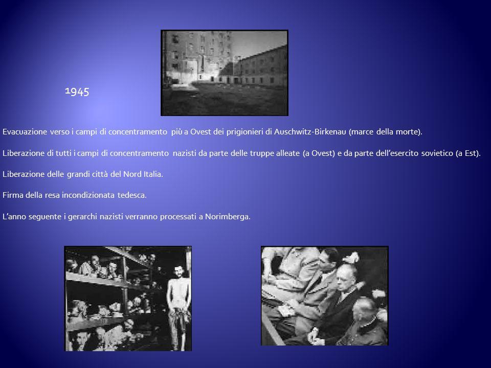 Evacuazione verso i campi di concentramento più a Ovest dei prigionieri di Auschwitz-Birkenau (marce della morte). Liberazione di tutti i campi di con