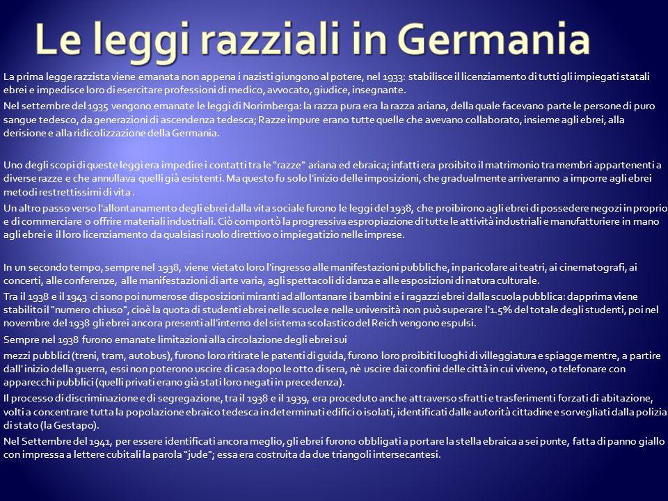 La prima legge razzista viene emanata non appena i nazisti giungono al potere, nel 1933: stabilisce il licenziamento di tutti gli impiegati statali eb