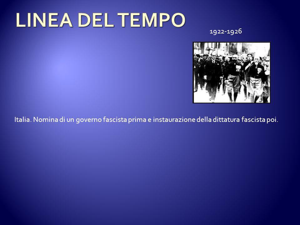 Italia. Nomina di un governo fascista prima e instaurazione della dittatura fascista poi. 1922-1926