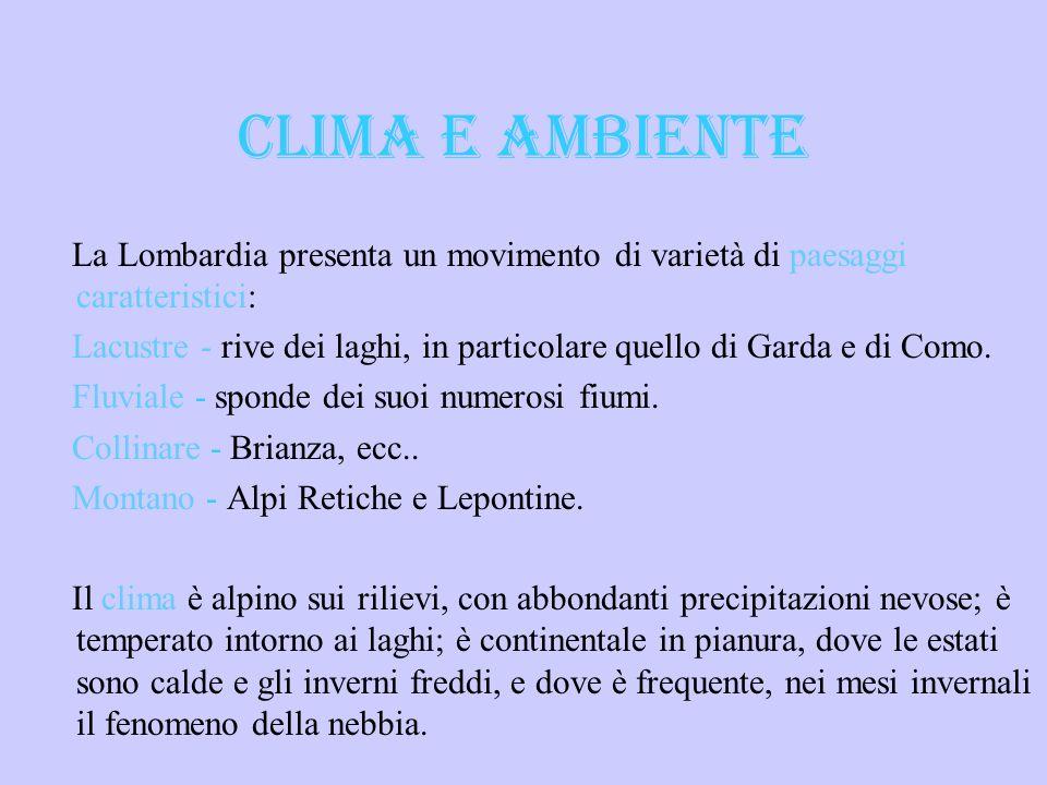 CLIMA E AMBIENTE La Lombardia presenta un movimento di varietà di paesaggi caratteristici: Lacustre - rive dei laghi, in particolare quello di Garda e