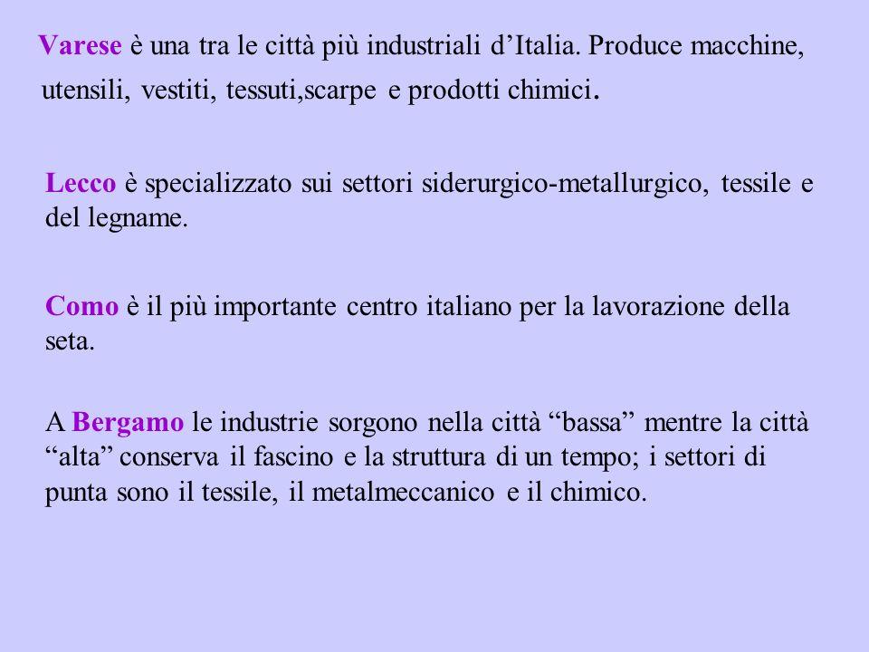 Varese è una tra le città più industriali dItalia. Produce macchine, utensili, vestiti, tessuti,scarpe e prodotti chimici. Lecco è specializzato sui s