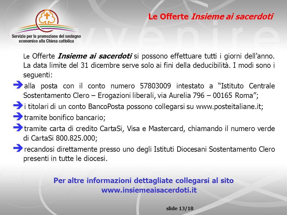 slide 13/18 Le Offerte Insieme ai sacerdoti Le Offerte Insieme ai sacerdoti si possono effettuare tutti i giorni dellanno. La data limite del 31 dicem