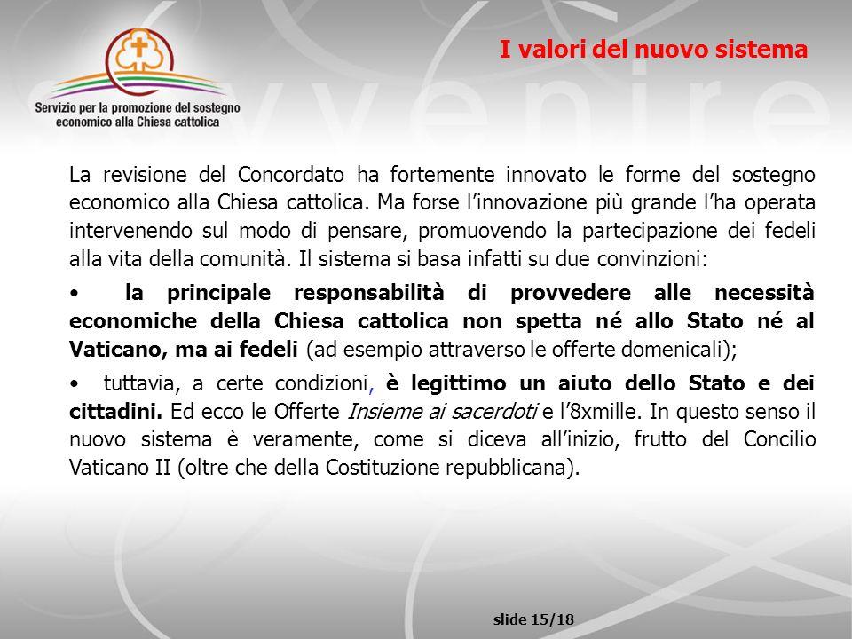 slide 15/18 I valori del nuovo sistema La revisione del Concordato ha fortemente innovato le forme del sostegno economico alla Chiesa cattolica. Ma fo