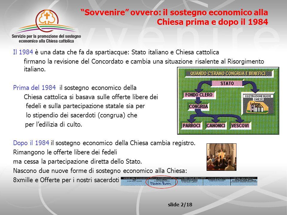 slide 2/18 Sovvenire ovvero: il sostegno economico alla Chiesa prima e dopo il 1984 Il 1984 è una data che fa da spartiacque: Stato italiano e Chiesa