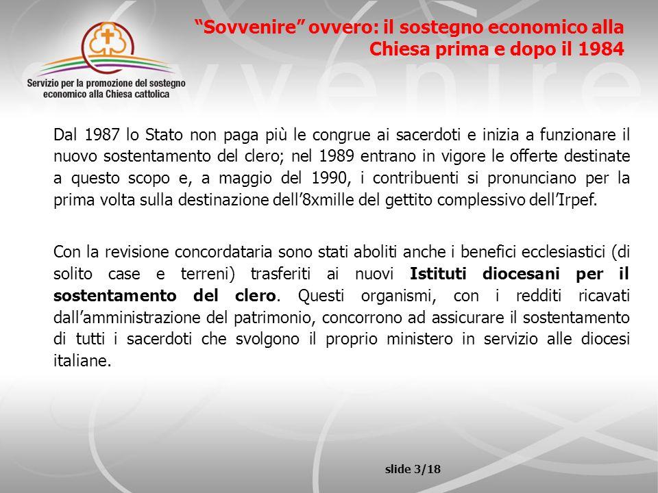 Sovvenire ovvero: il sostegno economico alla Chiesa prima e dopo il 1984 Dal 1987 lo Stato non paga più le congrue ai sacerdoti e inizia a funzionare