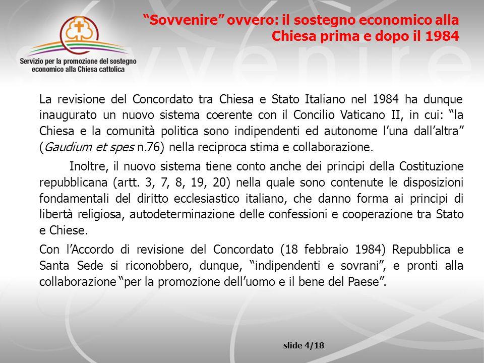 Sovvenire ovvero: il sostegno economico alla Chiesa prima e dopo il 1984 La revisione del Concordato tra Chiesa e Stato Italiano nel 1984 ha dunque in
