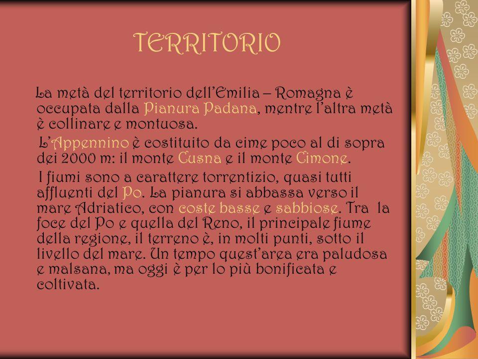 TERRITORIO La metà del territorio dellEmilia – Romagna è occupata dalla Pianura Padana, mentre laltra metà è collinare e montuosa. LAppennino è costit