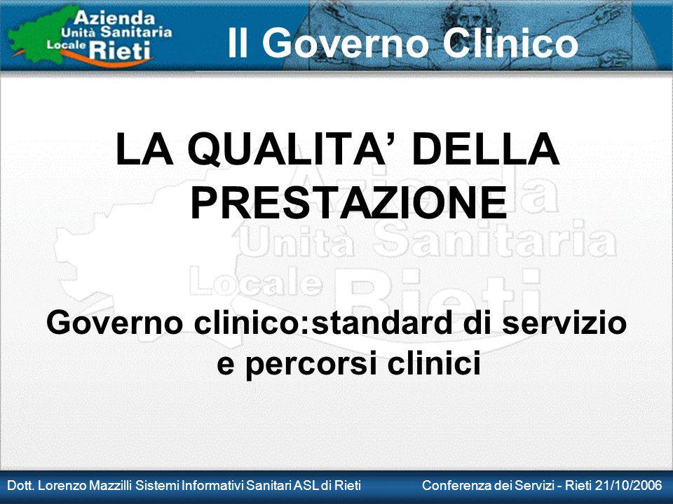 Il Governo Clinico Dott. Lorenzo Mazzilli Sistemi Informativi Sanitari ASL di Rieti Conferenza dei Servizi - Rieti 21/10/2006 LA QUALITA DELLA PRESTAZ