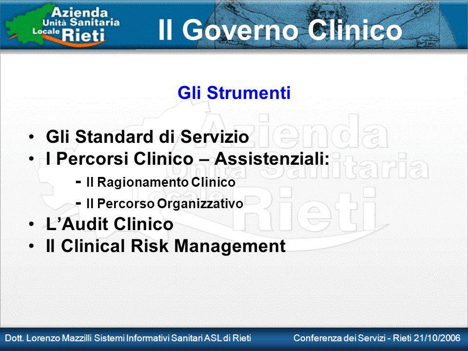 Il Governo Clinico Dott. Lorenzo Mazzilli Sistemi Informativi Sanitari ASL di Rieti Conferenza dei Servizi - Rieti 21/10/2006 Gli Strumenti Gli Standa
