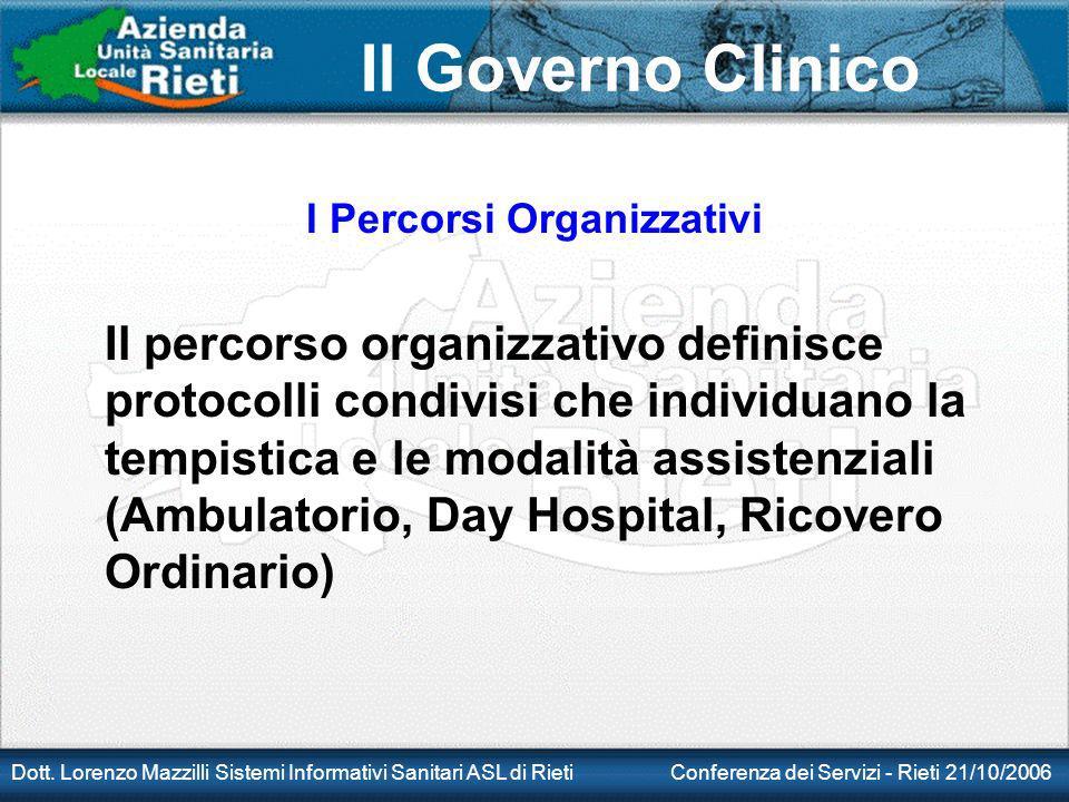 Il Governo Clinico Dott. Lorenzo Mazzilli Sistemi Informativi Sanitari ASL di Rieti Conferenza dei Servizi - Rieti 21/10/2006 I Percorsi Organizzativi