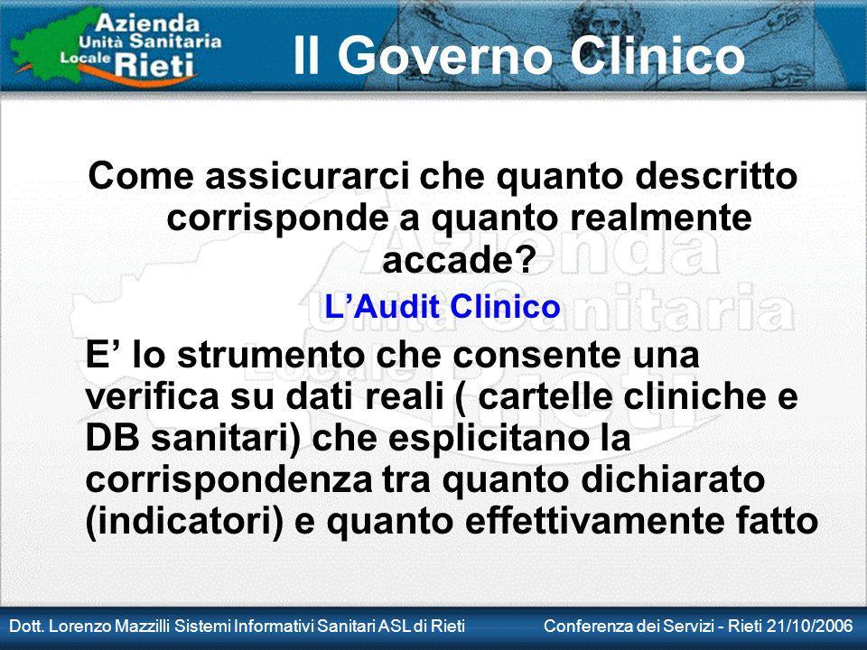 Il Governo Clinico Dott. Lorenzo Mazzilli Sistemi Informativi Sanitari ASL di Rieti Conferenza dei Servizi - Rieti 21/10/2006 Come assicurarci che qua