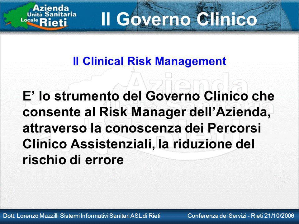 Il Governo Clinico Dott. Lorenzo Mazzilli Sistemi Informativi Sanitari ASL di Rieti Conferenza dei Servizi - Rieti 21/10/2006 Il Clinical Risk Managem