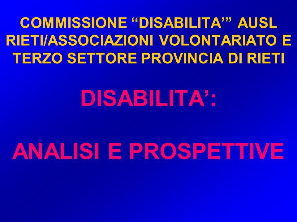 COMMISSIONE DISABILITA AUSL RIETI/ASSOCIAZIONI VOLONTARIATO E TERZO SETTORE PROVINCIA DI RIETI DISABILITA: ANALISI E PROSPETTIVE