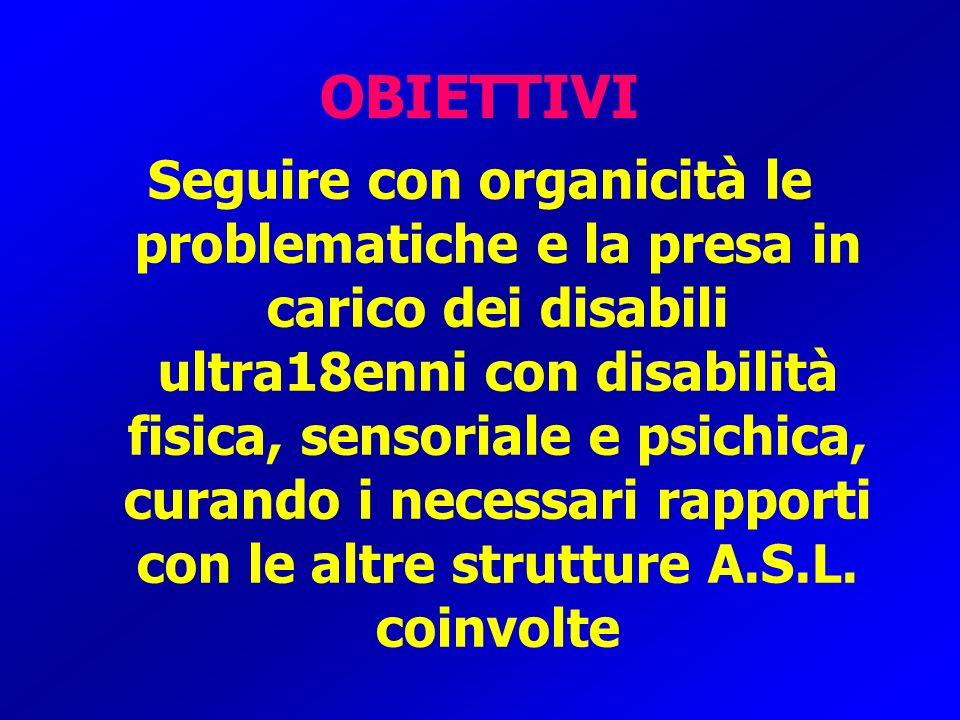 OBIETTIVI Seguire con organicità le problematiche e la presa in carico dei disabili ultra18enni con disabilità fisica, sensoriale e psichica, curando