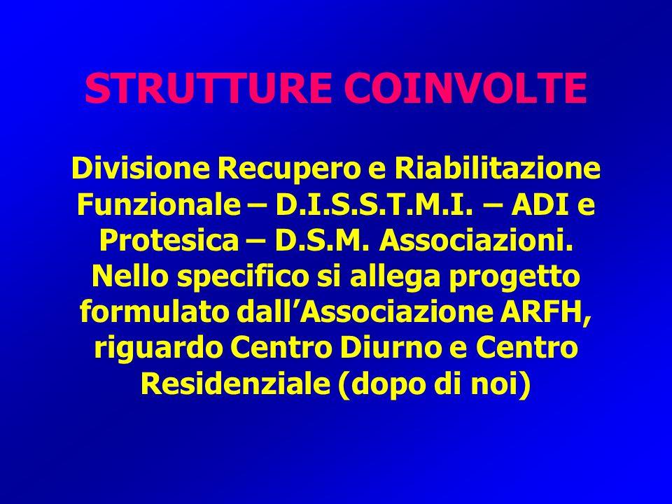 STRUTTURE COINVOLTE Divisione Recupero e Riabilitazione Funzionale – D.I.S.S.T.M.I. – ADI e Protesica – D.S.M. Associazioni. Nello specifico si allega