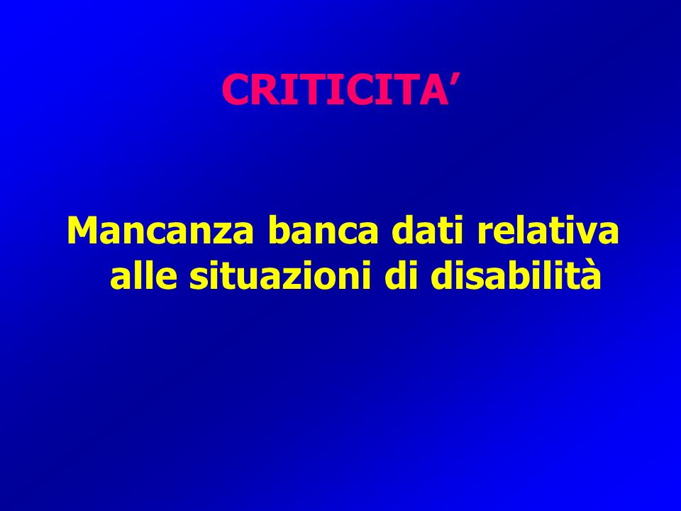 CRITICITA Mancanza banca dati relativa alle situazioni di disabilità