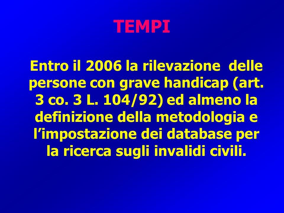 TEMPI Entro il 2006 la rilevazione delle persone con grave handicap (art. 3 co. 3 L. 104/92) ed almeno la definizione della metodologia e limpostazion