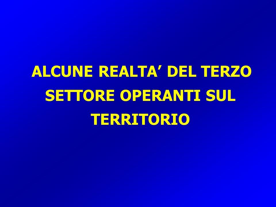 ALCUNE REALTA DEL TERZO SETTORE OPERANTI SUL TERRITORIO
