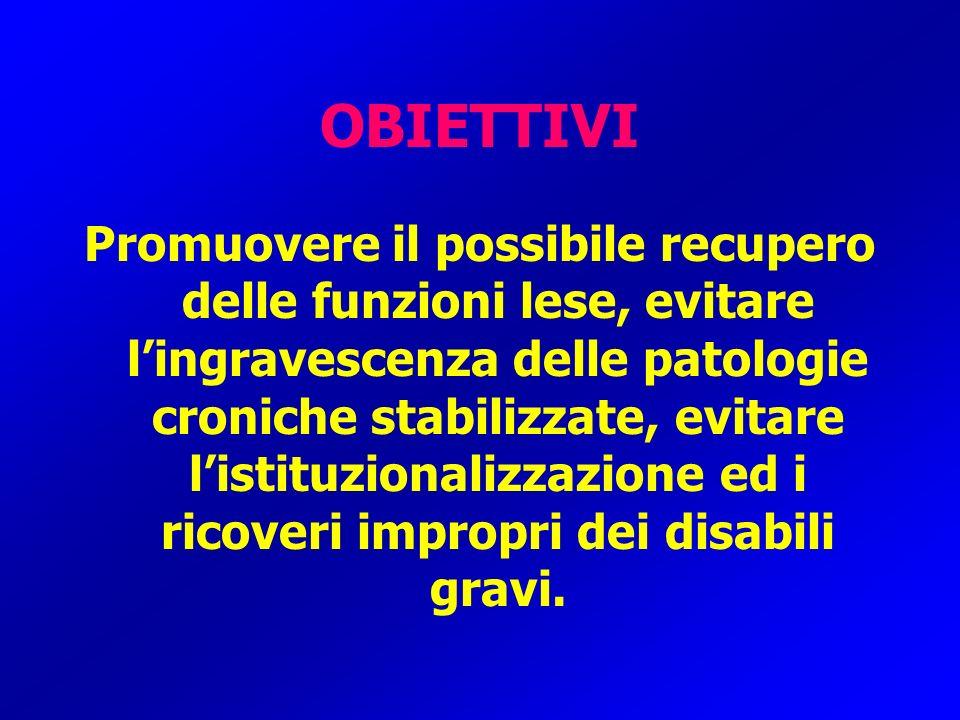 OBIETTIVI Promuovere il possibile recupero delle funzioni lese, evitare lingravescenza delle patologie croniche stabilizzate, evitare listituzionalizz