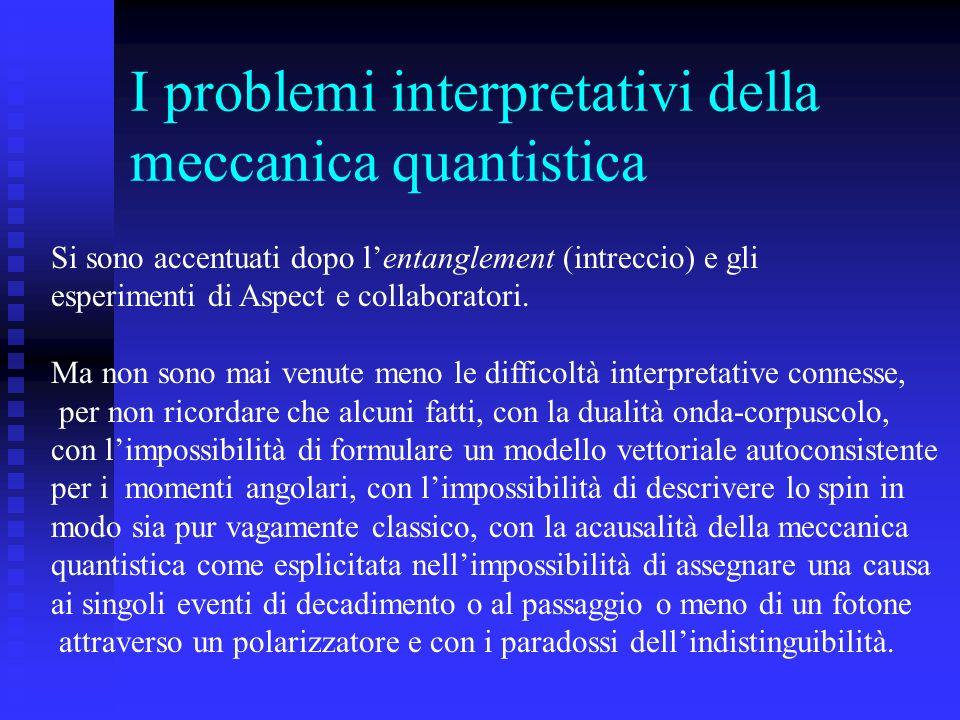 I problemi interpretativi della meccanica quantistica Si sono accentuati dopo lentanglement (intreccio) e gli esperimenti di Aspect e collaboratori. M