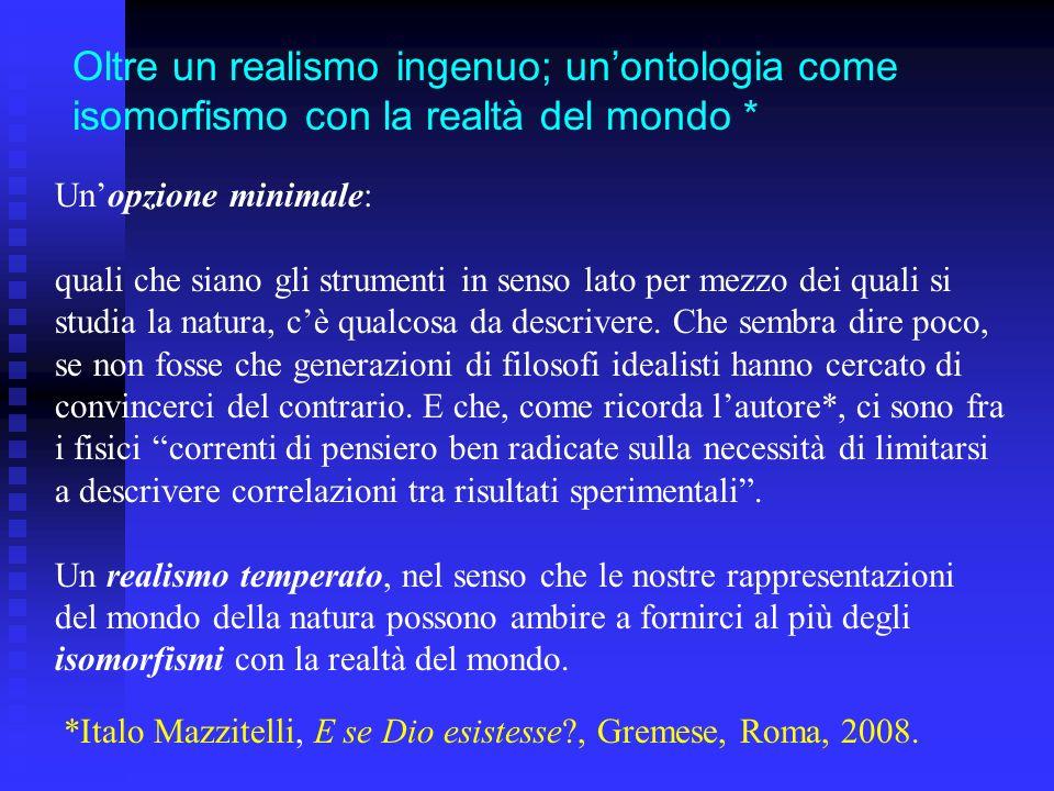 Oltre un realismo ingenuo; unontologia come isomorfismo con la realtà del mondo * *Italo Mazzitelli, E se Dio esistesse?, Gremese, Roma, 2008. Unopzio