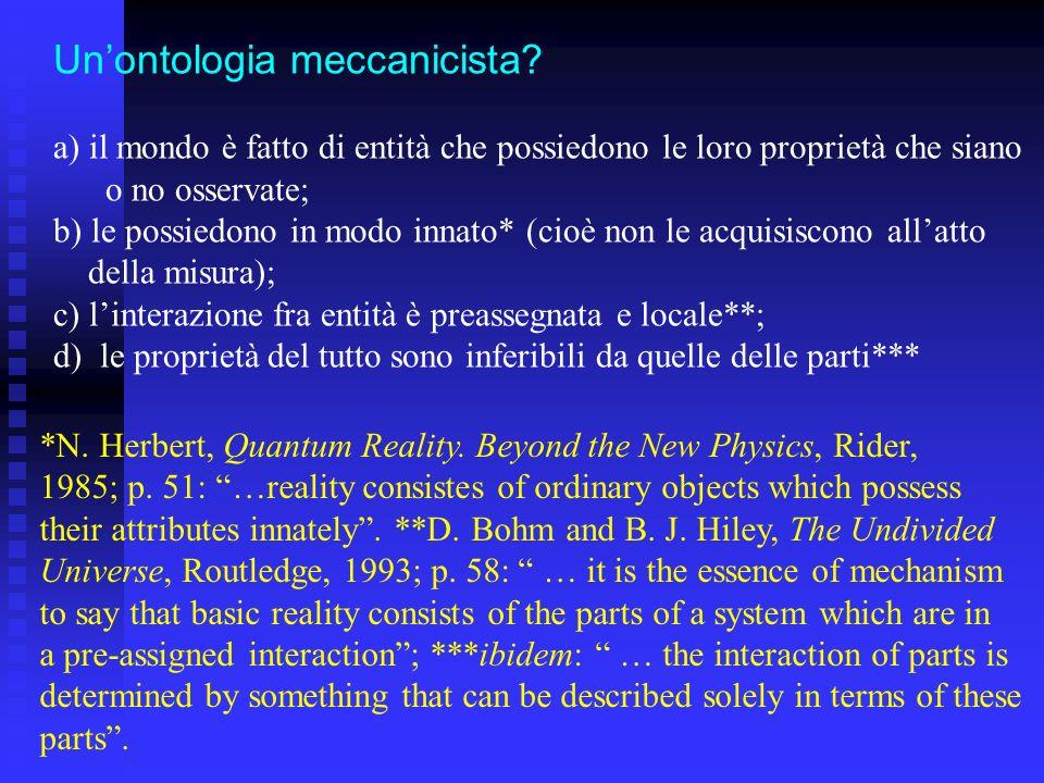 Unontologia meccanicista? a) il mondo è fatto di entità che possiedono le loro proprietà che siano o no osservate; b) le possiedono in modo innato* (c