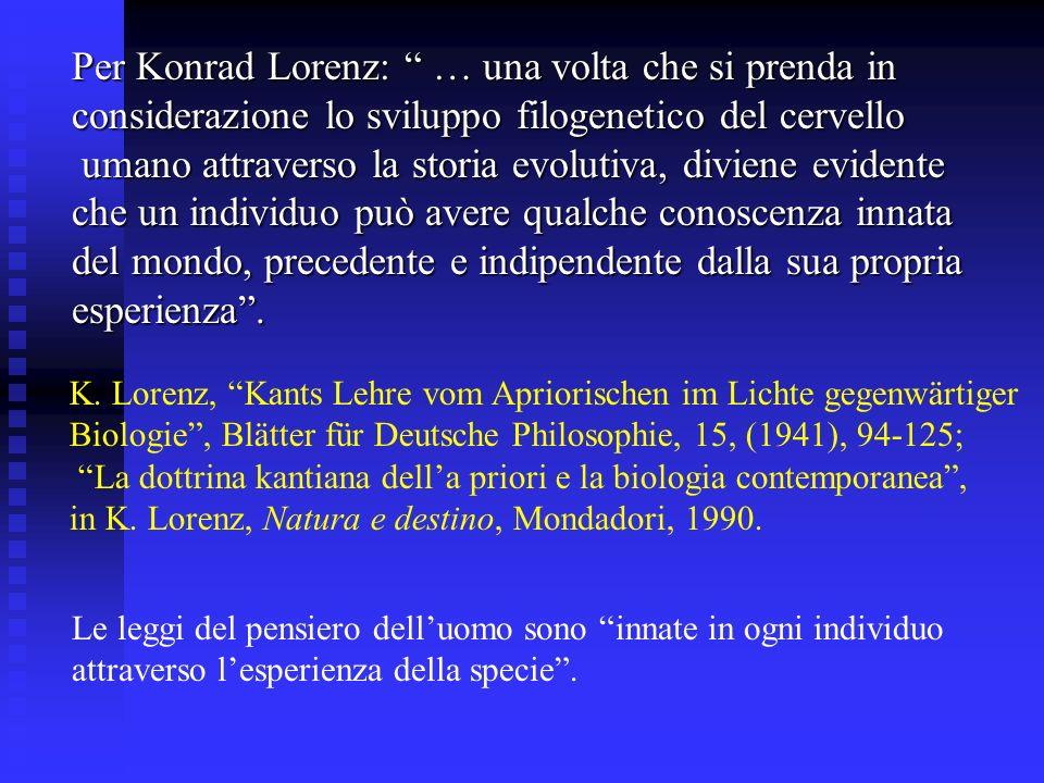 Per Konrad Lorenz: … una volta che si prenda in considerazione lo sviluppo filogenetico del cervello umano attraverso la storia evolutiva, diviene evi