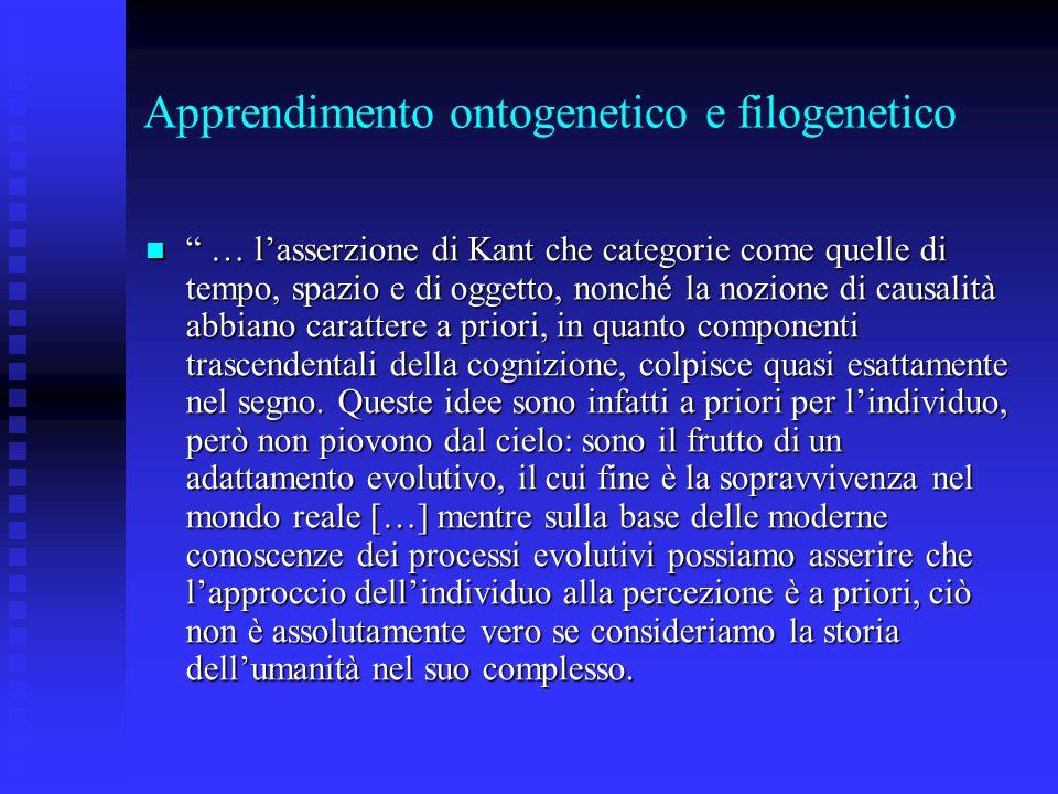 Apprendimento ontogenetico e filogenetico … lasserzione di Kant che categorie come quelle di tempo, spazio e di oggetto, nonché la nozione di causalit