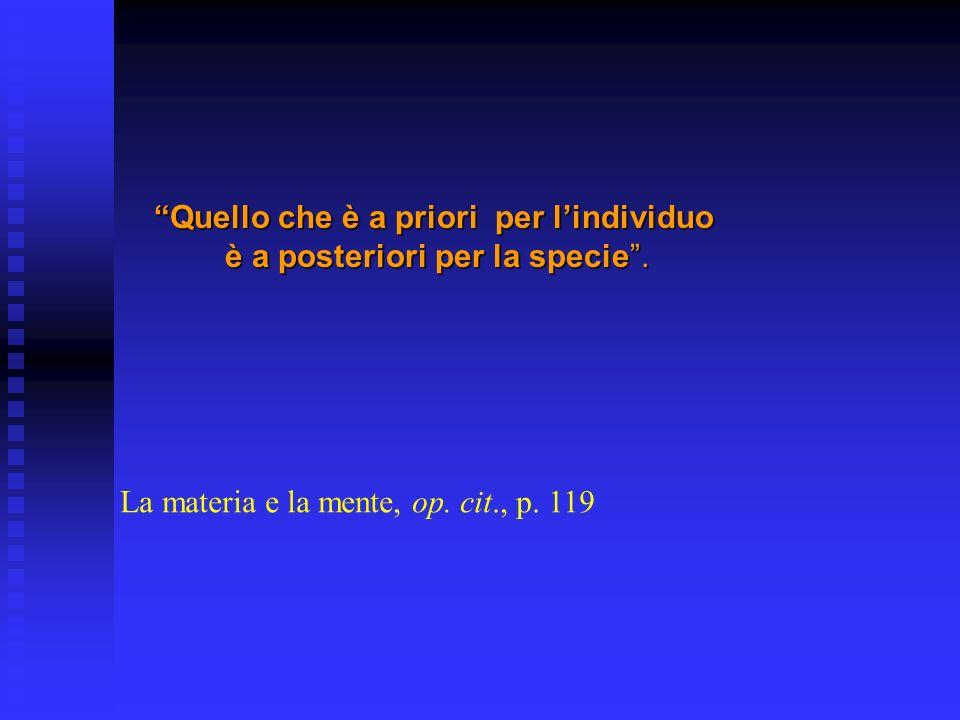 Quello che è a priori per lindividuoQuello che è a priori per lindividuo è a posteriori per la specie. La materia e la mente, op. cit., p. 119