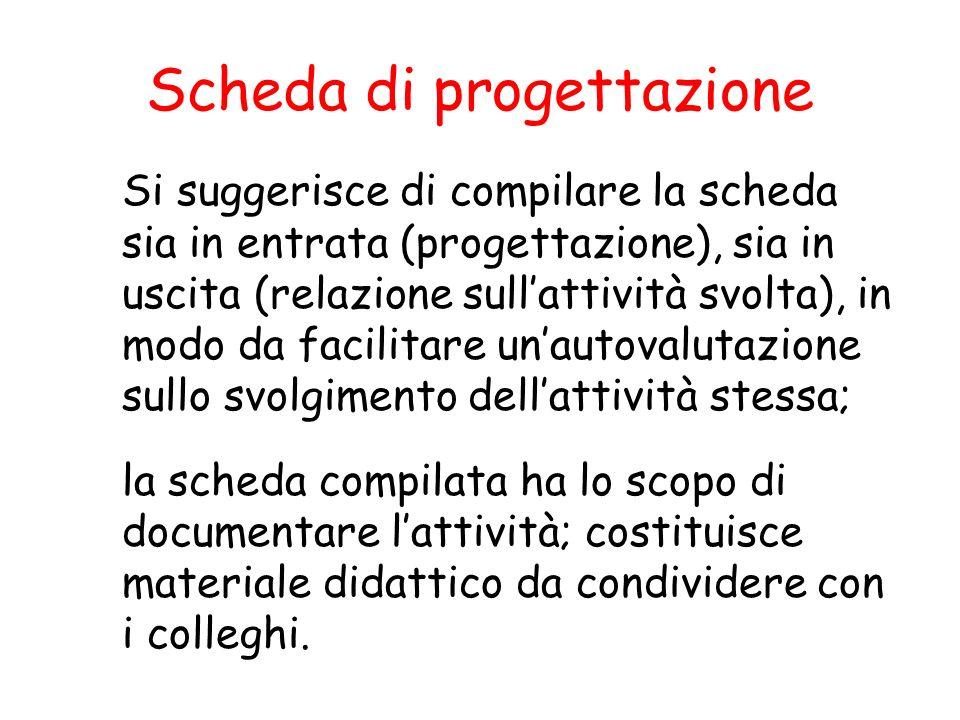 Si suggerisce di compilare la scheda sia in entrata (progettazione), sia in uscita (relazione sullattività svolta), in modo da facilitare unautovaluta