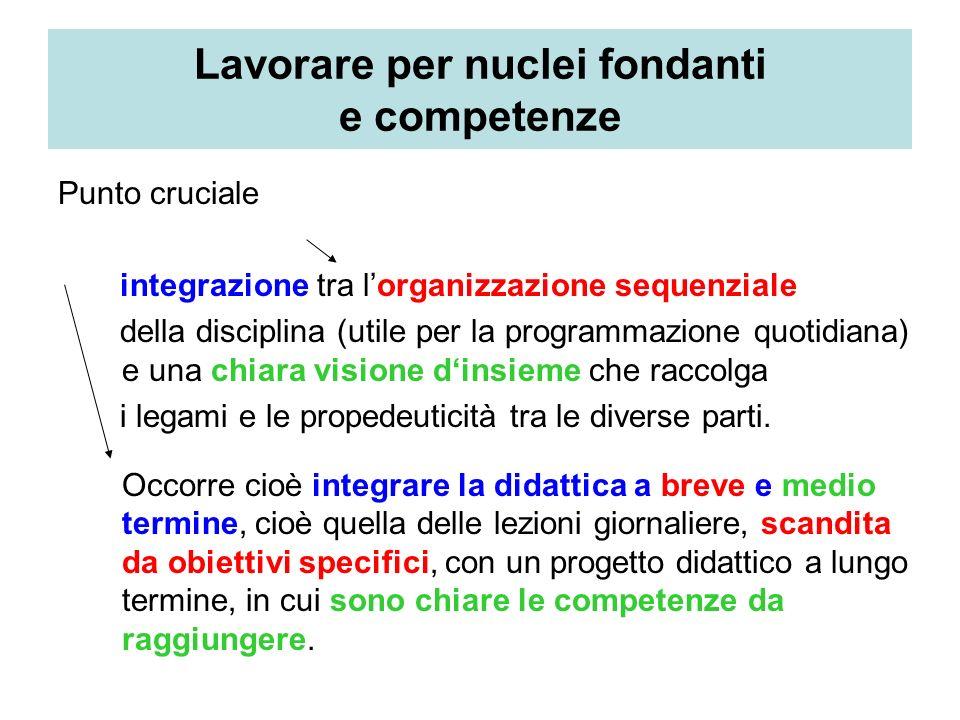 Lavorare per nuclei fondanti e competenze Punto cruciale integrazione tra lorganizzazione sequenziale della disciplina (utile per la programmazione qu