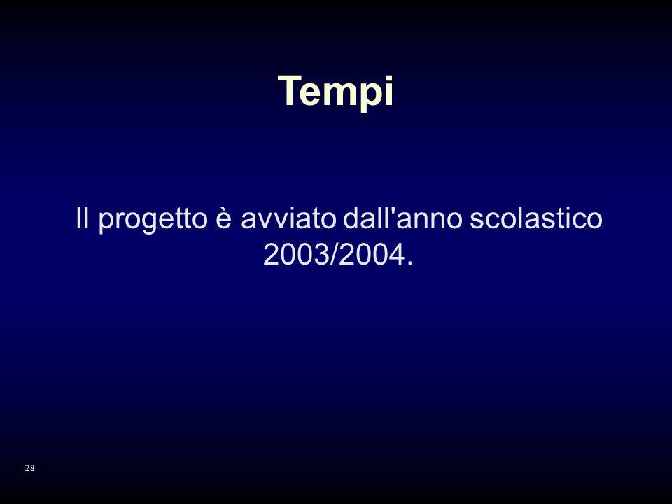 Il progetto è avviato dall anno scolastico 2003/2004. Tempi 28