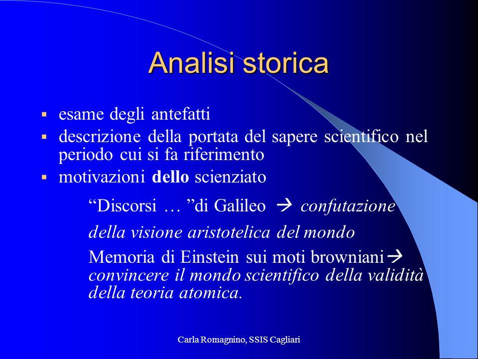 Carla Romagnino, SSIS Cagliari Analisi storica esame degli antefatti descrizione della portata del sapere scientifico nel periodo cui si fa riferiment